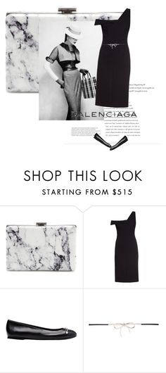 """""""Balenciaga little black dress with flats clutch and belt in sparkle."""" by kohlanndesigns ❤ liked on Polyvore featuring Balenciaga"""