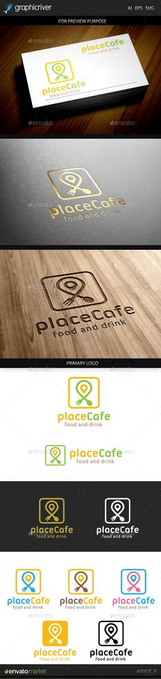 Place Cafe Logo by Aestro Place Cafe Logo design for creative studio company. Featured:AI Document EPS 10 Document PDF Document Vector (Re-siz Food Logo Design, Logo Food, App Design, Branding Design, Creative Studio, Brochure Template, Logo Templates, Word Template Design, Grill Logo