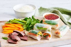Wrap up these sublime Vietnamese beef rolls and serve with homemade dipping sauce.