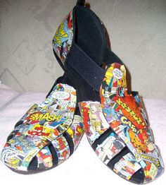 Modge Podge comic book shoes. I'd probably print out pages because I couldn't bring myself to cut up an actual comic.