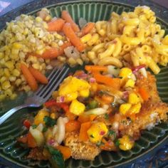 Crusted speckled trout w/mango salsa