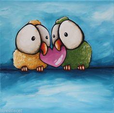 Love birds #whimsicalbirds #stressiecat Original-acrylic-painting-canvas-whimsical-animal-love-birds-big-eyes-heart