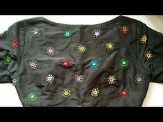 Beautiful all over mirror work and lazy daisy stitch step by step tutorial in telugu Pattu Saree Blouse Designs, Blouse Designs Silk, Designer Blouse Patterns, Mirror Work Saree Blouse, Mirror Work Blouse Design, Simple Blouse Designs, Stylish Blouse Design, Kutch Work Designs, Embroidery Neck Designs