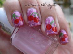 Cherry Gingham nail art!