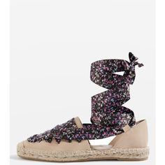 TopShop King Lace Up Espadrilles ($85) ❤ liked on Polyvore featuring shoes, sandals, multi, nude shoes, summer sandals, leather espadrille sandals, summer shoes and leather lace up sandals