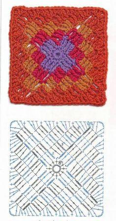 Crochê Quadrado - Crochê.  /  Square Häkeln - Crochet.  /  Square Crochet - Crochet.