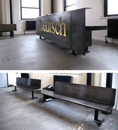 Steel reception desk and benches by Face Design + Fabrication