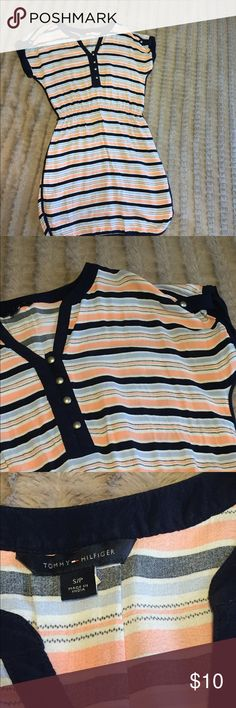 Tommy Hilfiger Dress In a preppy peach and navy stripe, this is a great foundation piece to layer or wear on its own. Hardly worn (maybe once?). Tommy Hilfiger Dresses
