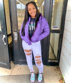 winter outfits blackgirl tasiashanell f/ ssllaaxxt.dolls ll Swag Outfits For Girls, Purple Outfits, Cute Swag Outfits, Nike Outfits, Colourful Outfits, Classy Outfits, Stylish Outfits, Fashion Outfits, Estilo Cholo