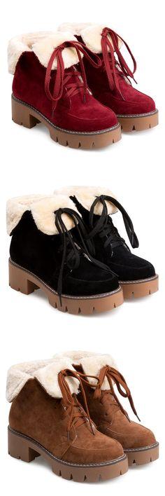 $30.11 Platform Fuzzy Fold Down Boots