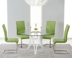 Bellevue White High Gloss Round Glass Top Dining Set - with 4 Green Malibu Chairs