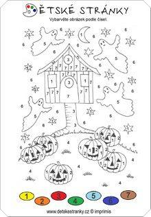 Halloween - omalovánka podle čísel