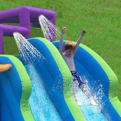 Kahuna Twin Falls Outdoor Inflatable Splash Pool Water Slide Park (Used) : 90793 Pool Water Slide, Water Slides, Backyard Water Parks, Pool Backyard, Inflatable Water Park, Splash Park, Water Sprinkler, Pvc Fabric, Twin Falls