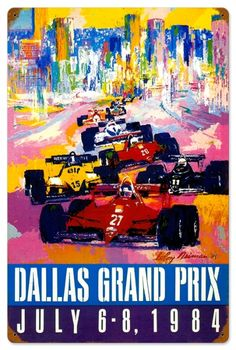 Retro Dallas Grand Prix Tin Sign 16 x 24 Inches
