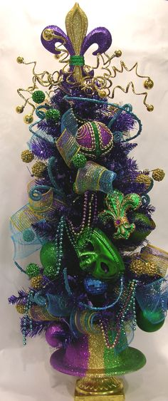 Mardi Gras Tabletop Tree Pre-lit with Hat Base - MilandDil Designs