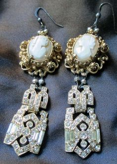 'at the ritz' vintage assemblage earrings with cameos and rhinestones by The French Circus, $75.00