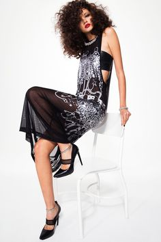NASTY GAL Collection Chaos Theory Mesh Maxi Dress #curls