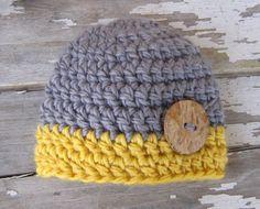 Baby Boy Hat - Baby Boy Hats - Crochet baby boy hats - Gray and Sunny Yellow… Crochet Baby Boy Hat, Crochet Hats For Boys, Crochet Beanie, Knit Or Crochet, Learn To Crochet, Crochet Crafts, Crochet Projects, Baby Boy Beanies, Boys Beanie
