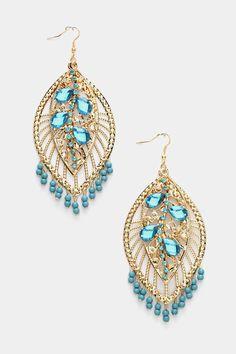 Crystal Chandelier Earrings In Blue.