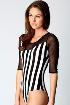 Niko Mesh Sleeve Striped Bodysuit $24 www.boohoo.com
