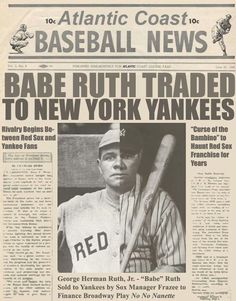 Boston Red sox sells Babe Ruth to the New York Yankees On This Day December 26 1919 Babe Ruth, Yankees Baby, New York Yankees Baseball, Roberto Clemente, Dodgers, Baseball Players, Baseball Cards, Baseball Stuff, Soccer Jerseys