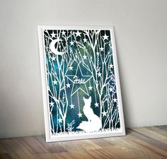 This listing is for an archival print of my original fox in the enchanted forest papercut.  This is my original take on the fox sitting in the