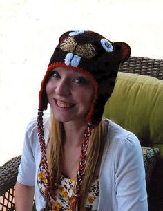 Crochet beaver hat (3 mos. to preteen sizes) 8ae44f4aa4cc