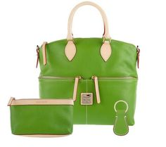 Dooney & Bourke Leather Satchel with Accessories A202338 Grass