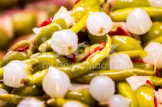 Olives with onion and pepper royalty-free stock photo