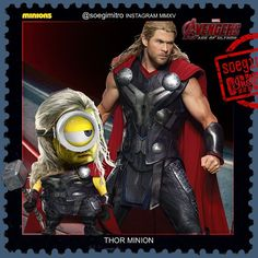 Avengers: Age of Ultron Minions - Thor Minion Minion Gif, Cute Minions, Minion Movie, My Minion, Minions Images, Funny Minion Pictures, Minions Quotes, Famous Superheroes, Minion Characters