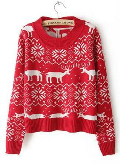 Red Sweater - Christmas Red Deer Round Neck