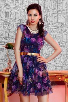 Rochie Scurta de Ocazie cu Imprimeuri Florale Mov Baked Purple