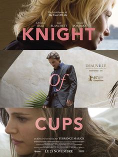 """Terrence Malick's """"Knight of Cups"""" - 2015 - with Cate Blanchett, Christian Bale and Natalie Portman - French poster Streaming Movies, Hd Movies, Movies And Tv Shows, Movie Tv, Hd Streaming, Movies Free, Knight Of Cups, Christian Bale, Poster"""
