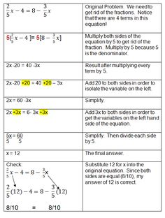 Algebraic Equations Chart | Solving Algebra Equations with Variables on Both Sides
