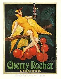 Vintage French WINE,  advertisement poster - girl bird fancy dress 1920s. $9.00, via Etsy.