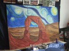 "3 panel 48""x72"" painting - delicate arch with milky way."