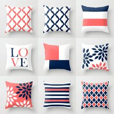 Throw Pillow Cover designs in coral, navy, and white.  Individually cut and sewn, features a 2 sided print and is finished with a zipper for ease of care. SIZES: 16in. X 16in. 18in. X 18in. 20in. X 20in. 26in. X 26in. (euro) 14in. X 20in. (lumbar)   IMPORTANT: These are COVERS ONLY! You can cover your existing pillows or purchase inserts online or at any local craft store.  FABRIC: Spun Poly Poplin. Medium weight high quality fabric that is durable and slightly textured and suitable for…