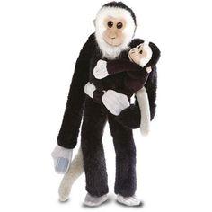 knuffel hangende aap met baby