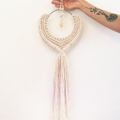 "Macrame hanging ""GODDESS OF ABUNDANCE.  infused with a Citrine crystal pendant. @heart_and_hands on Instagram.  www.heartandhandscreations.com"