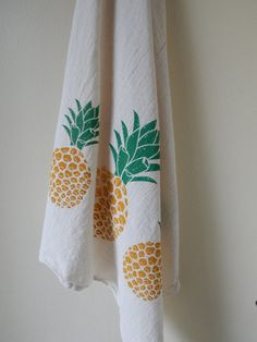 Kitchen Towel, Hand Printed, Pineapple, Natural Cotton