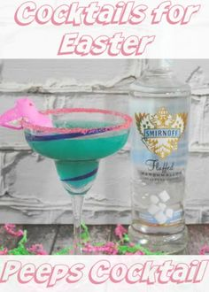 Cocktails For Easter- Peeps Cocktail With Marshmallow Vodka, Blue Curacao, Pineapple Juice, Sprite Easter Drink, Easter Cocktails, Cocktail And Mocktail, Easter Peeps, Easter Dinner, Easter Party, Easter Treats, Cocktail Recipes, Drink Recipes
