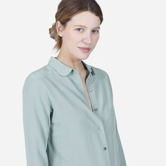 silk round collar shirt in ocean - Everlane