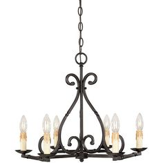 World Imports Rennes Collection 6-light Chandelier, Red rust