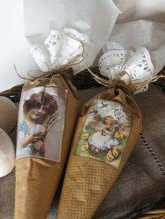 Brown paper, doily, tissue treat cones