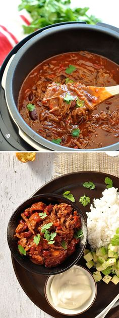 Shredded Beef Chili Con Carne Shredded Beef Slow Cooker Chili Con Carne - so fast to prepare! The shredded beef soaks up the thick, rich sauce so well. Slow Cooker Chili, Slow Cooker Meal Prep, Slow Cooker Shredded Beef, Slow Cooker Roast, Healthy Slow Cooker, Slow Cooker Recipes, Thick Chili Recipe Slow Cooker, Shredded Beef Chili Recipe, Diced Beef Recipes