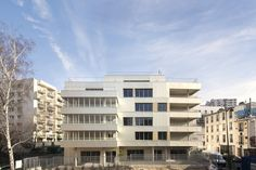 "Built by ADE architectes - David Elalouf & Guillaume Prognon in Paris, France with date 2014. Images by Pauline Turmel. The ""Residence Alice Guy"" is a 5-storey building designed for elderly. It is located in Paris 19th arrondissement of ..."