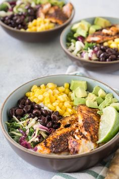 Fish Taco Bowls, healthy, quick and easy, this recipe is made with Tilapia, blackened spices, corn, black beans, avocado, and served with cabbage and rice. #fishtaco #tacobowl #fishtacobowl #fish #tilapia #glutenfree #noshtastic