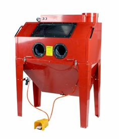 Steel Brass Constructed 110 Gallon Sandblast Cabinet w/ Built in Dust Collector