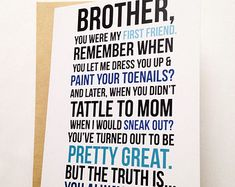 Brother Card Birthday Funny For