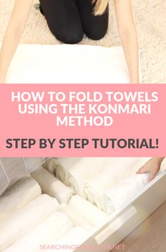 Konmari Folding Towels Tutorial 2020 - Searching For Better - Konmari Folding Towels Tutorial. The konmari method is one of my fav organizing ideas! This life ch - Deep Cleaning Tips, House Cleaning Tips, Spring Cleaning, Cleaning Hacks, Linen Closet Organization, Closet Storage, Closet Shelves, Closet Drawers, Organize A Linen Closet